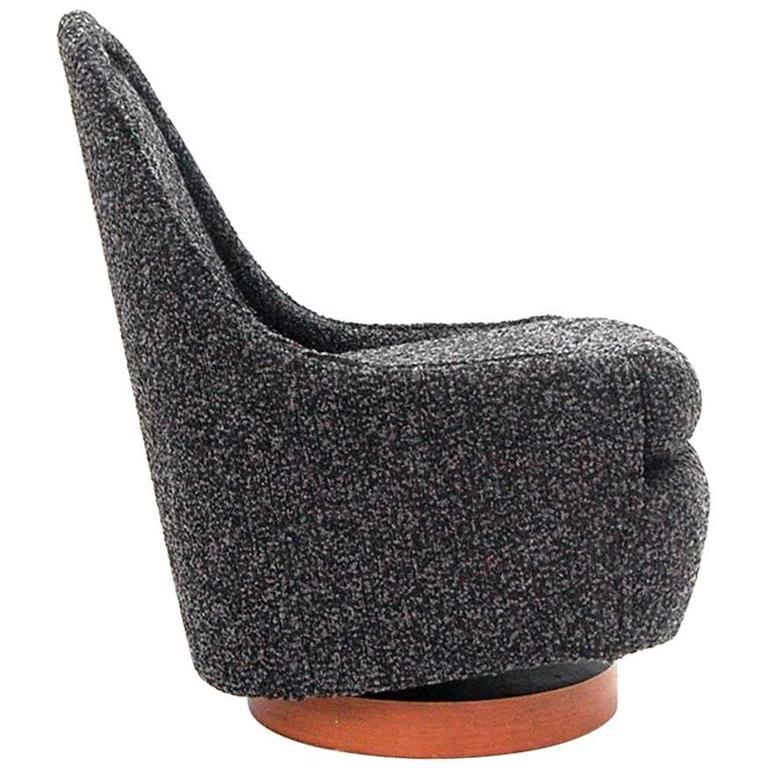 Petite Milo Baughman Chair in Italian Cashmere Boucle Fully Restored