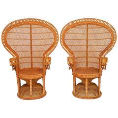 Pair of Rattan Emmanuel Peacock Chairs