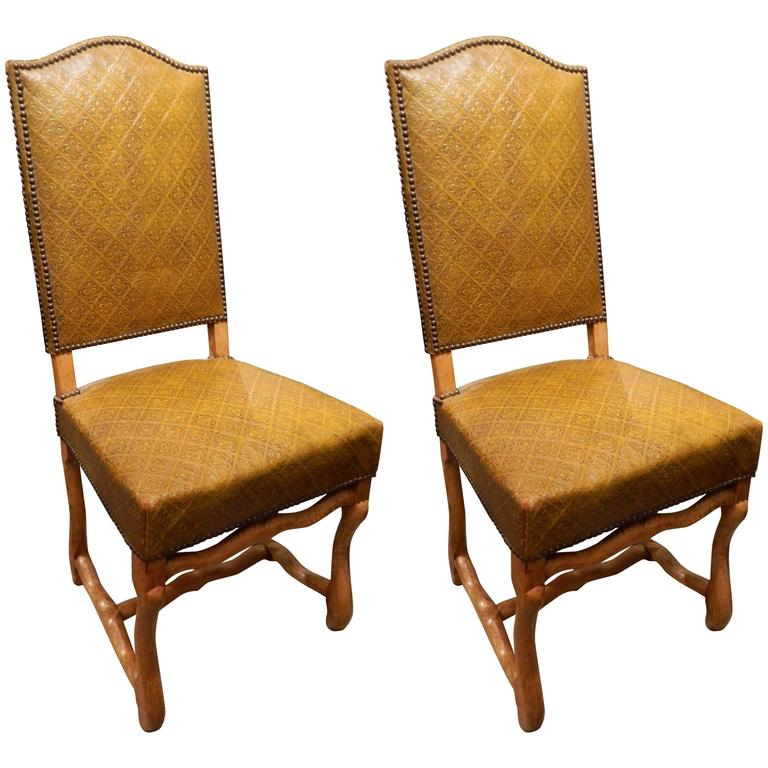 Pair of French Side Chairs Upholstered in Embossed Leather, Late 19th Century