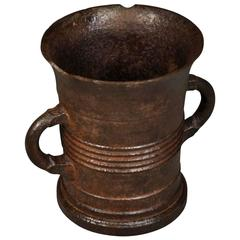 French 18th Century Cast Iron Mortar