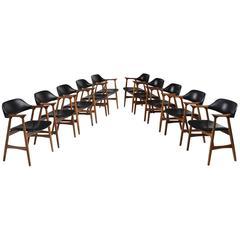 Set of Ten Norwegian Black Leatherette Room Armchairs