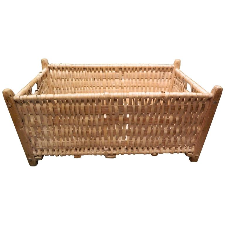 French Rectangular Laundry Basket, Late 19th Century