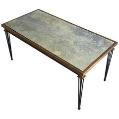 Iron and Gilt Coffee Table with Antiqued Mirror, in the Style of Jacques Quinet