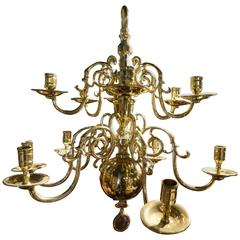 French Polished Brass Two-Tier Ball Chandelier, 19th Century
