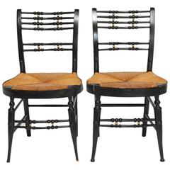 Pair of 19th Century Ball-Back Hitchcock Chairs