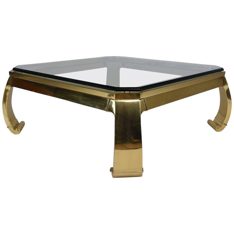 Hollywood Regency Brass Coffee Table by Mastercraft