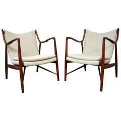Pair of Finn Juhl nv-45 Lounge Chairs for Neils Vodder