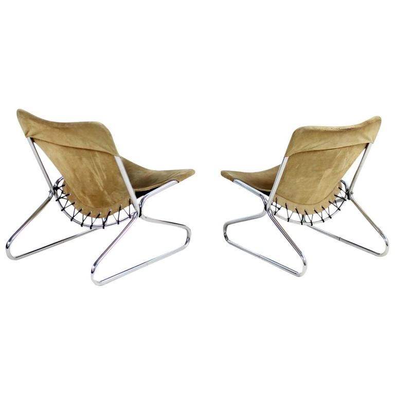 Pair of 1960s Suede Leather and Chrome Easy Lounge Chairs Danish Modern 1