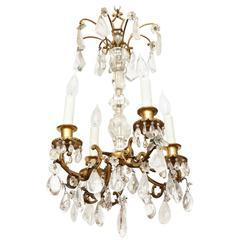 Louis XV Style Ormolu and Rock Crystal Six-Light Chandelier