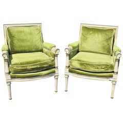Directoire Style Distressed Cream Painted Upholstered Bergères