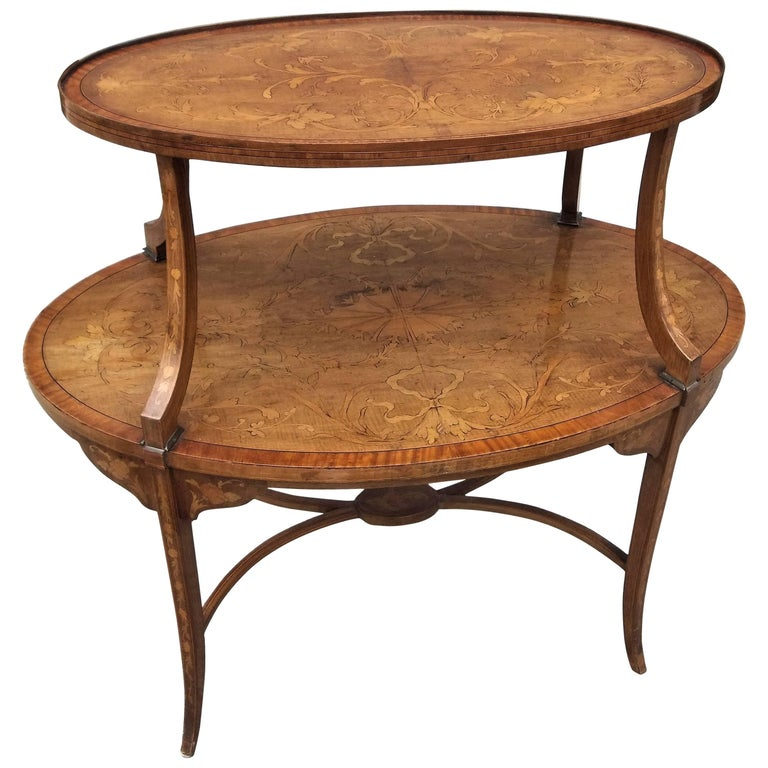 Two-Tiered Inlaid Adam Style Dessert Table For Sale