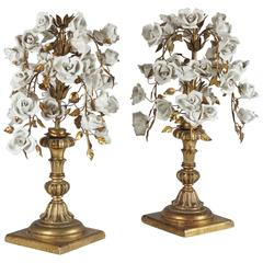 Pair of Porcelain Floral Bouquet Sculptures