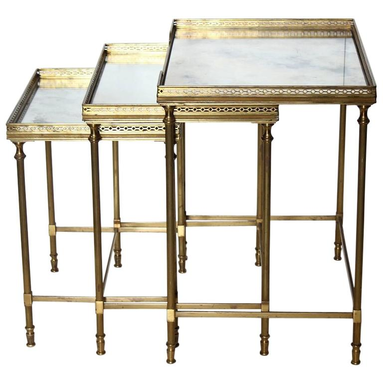 47d865cfa3f14 Antique French Brass Nesting Tables at 1stdibs