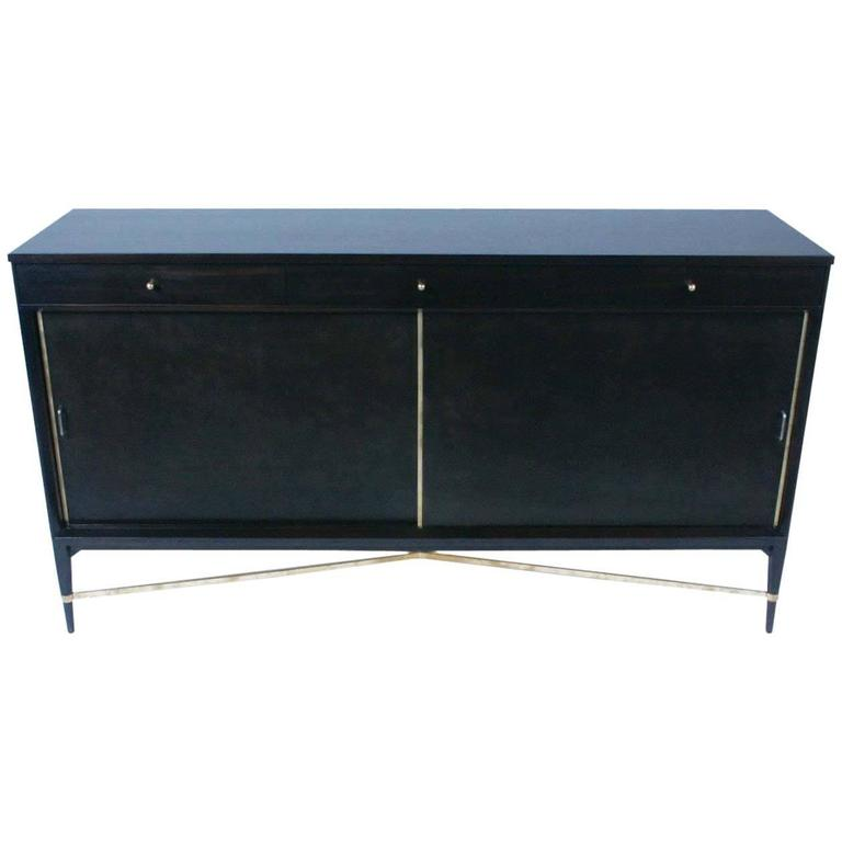 Paul McCobb for Calvin Sideboard with Brass X Strecher For Sale