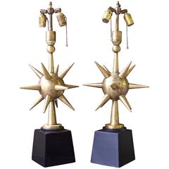Pair of Patinated Brass & Steel 'Sputnik' Table Lamps; Mexico, 1950s