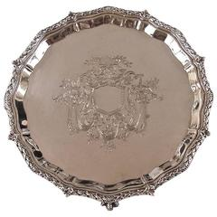Georgian Style Sterling Silver Salver with Armorial Hallmarked London, 1900