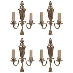 Four Signed E. F. Caldwell Early Georgian Style Silver Sconces