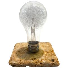 GE Photoflash Bulb as Iconic Sculpture, circa 1940s Travertine Stone Mounted
