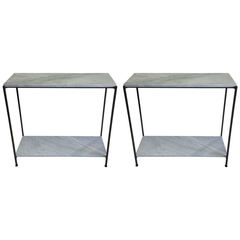Two Wrought Iron and Marble Minimalist Consoles/Sofa Tables, Italy, circa 1970