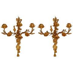 Pair 19th Century French Gilt Bronze Louis XVI Style Floral Sconces