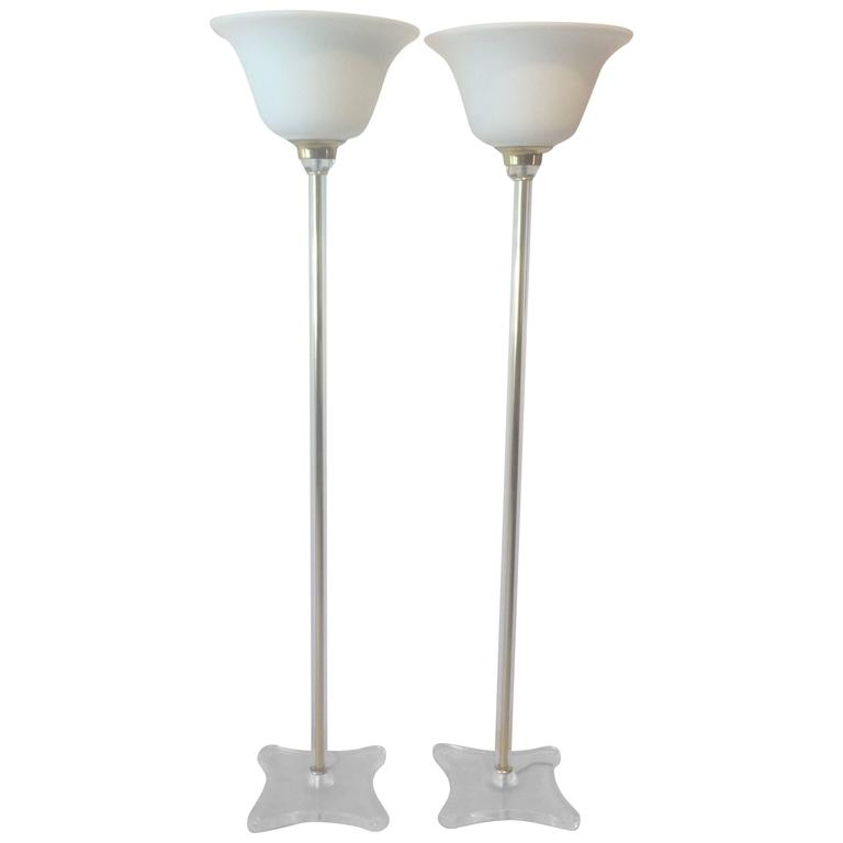 Vintage Lucite and Glass Tochiere Floor Lamps, circa 1980s