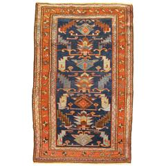 Antique Persian Hamadan Oriental Rug, Small Size, Geometric Design & Earth Tones