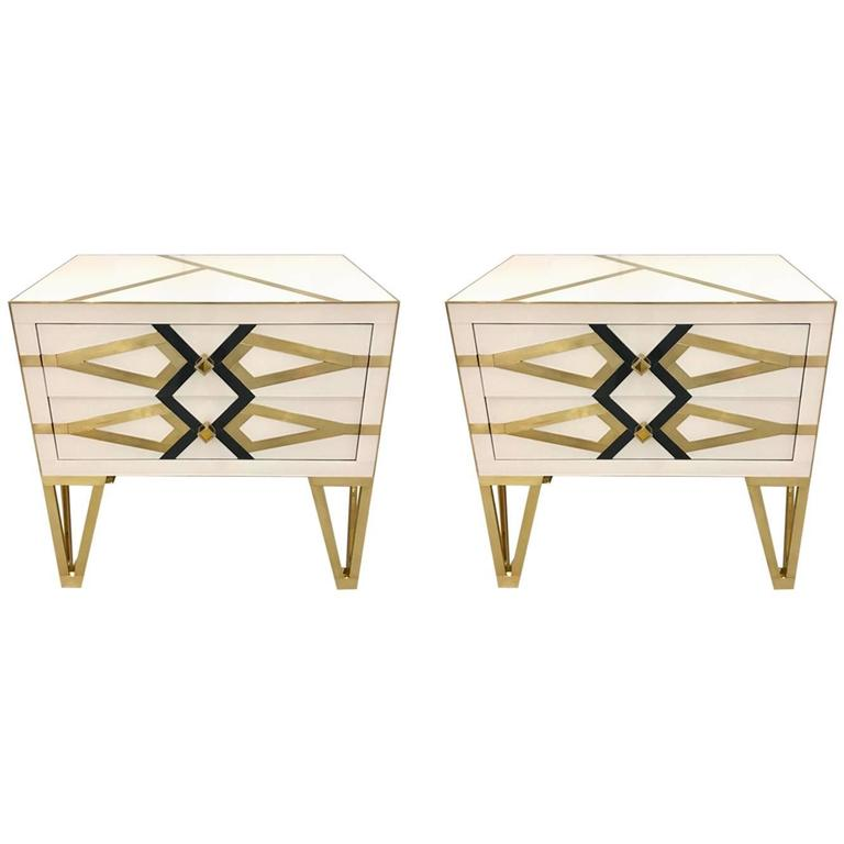 Contemporary Pair of Italian Gold Brass Black and White Chests / Side Tables