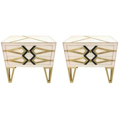 Contemporary Pair of Italian Gold Brass Black and White Side Tables/Nightstands