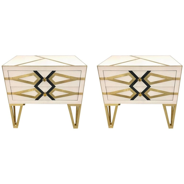 Contemporary Pair of Italian Gold Brass Black and White Side Tables/Nightstands For Sale