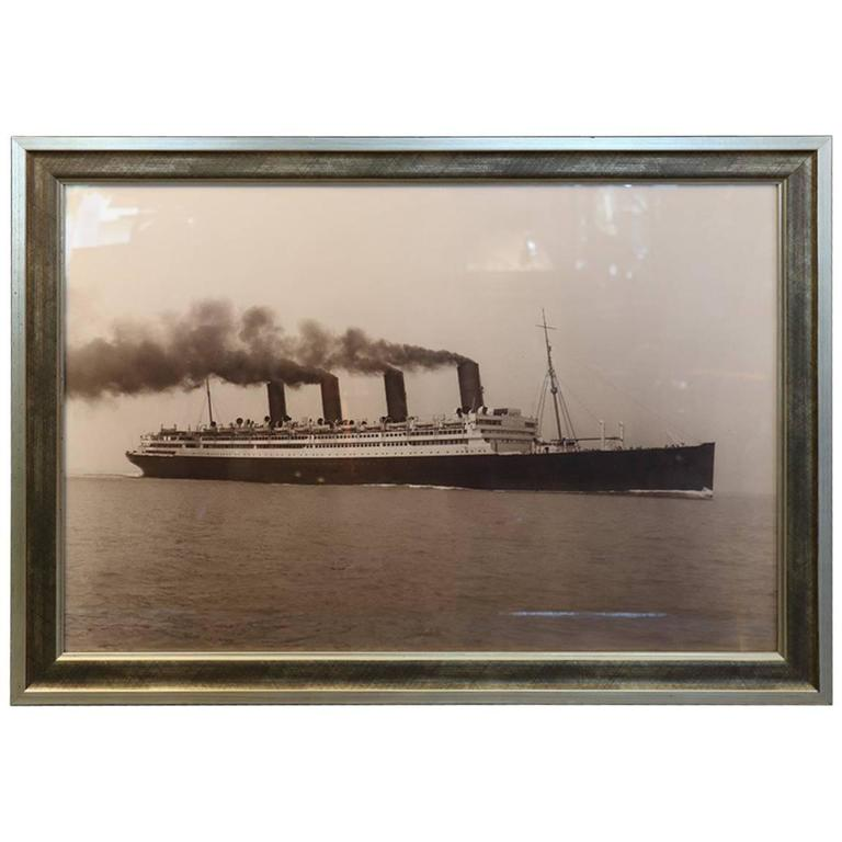 Black and White Print of Four Stack Ocean Liner