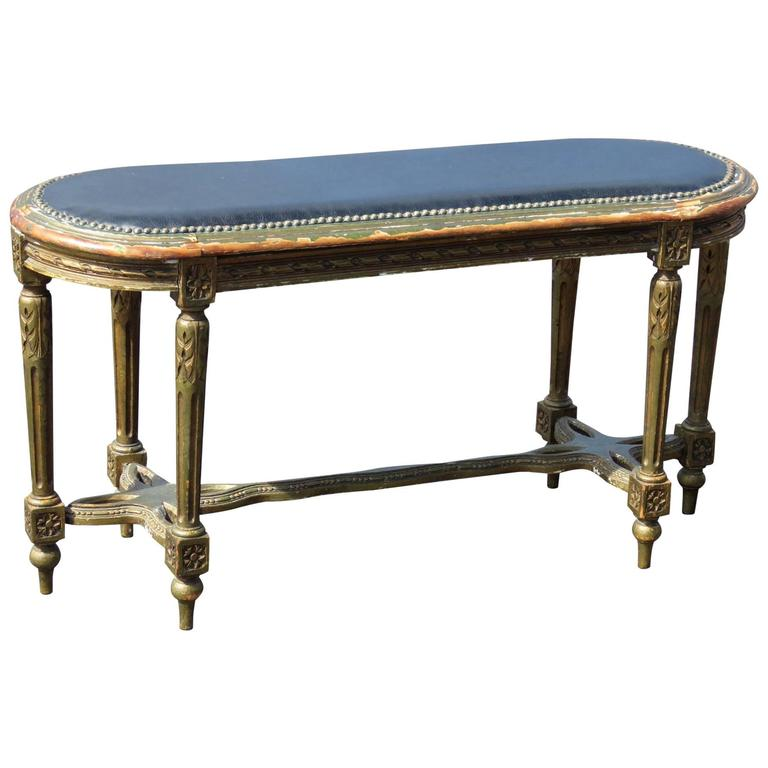 Directoire Style Distressed Painted Upholstered Bench For Sale At 1stdibs
