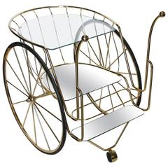 Modern Italian Brass Bar Cart