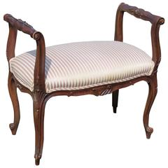 Louis XV Style Walnut Carved Upholstered Bench