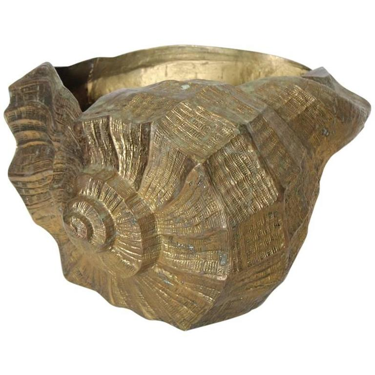 Large Decorative Brass Shell Planter 1