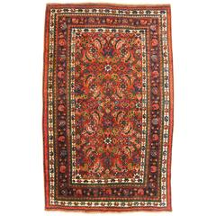 Antique Persian Bidjar Oriental Rug, Small Size, with Herati Design, circa 1920