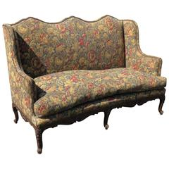 Louis XVI Style Carved Walnut Tapestry Upholstered Sofa