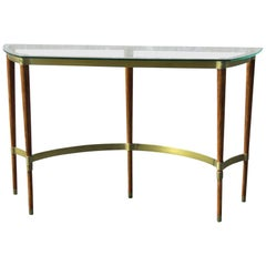 Deco Style Brass and Wood Glass Top Console Table