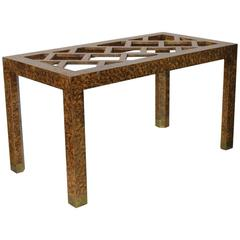 Stylish 1940s Chinoiserie Dining or Desk Table by Baker