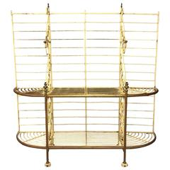 Antique Bakers Rack of Metal and Brass, France, 1920