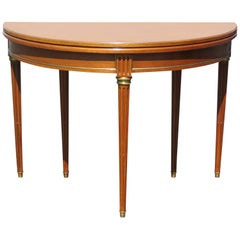 Directoire Style Brass Walnut Demilune Game Table