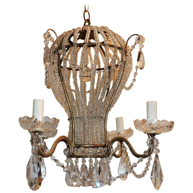 Wonderful Vintage Italy Gilt Beaded Crystal Hot Air Balloon Chandelier Fixture For