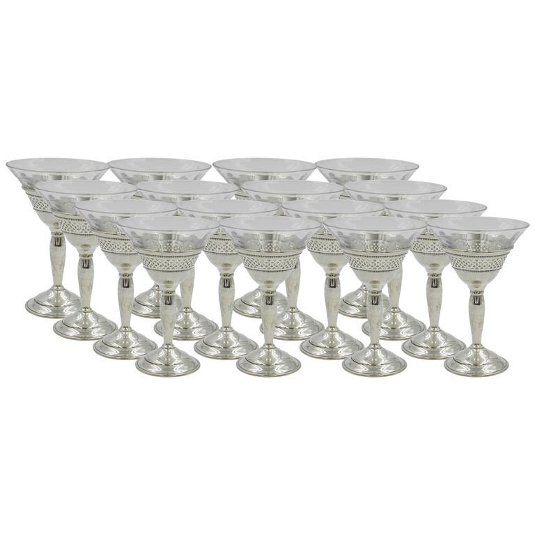 Set of 18 Crystal Cordials with Sterling Base For Sale