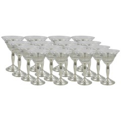 Set of 18 Crystal Cordials with Sterling Base