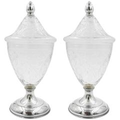Pair of Crystal and Silver Urns
