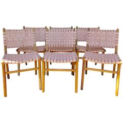 "Six ""Flora"" Modern Dining Chairs with Leather Strapping Haskell Studio"