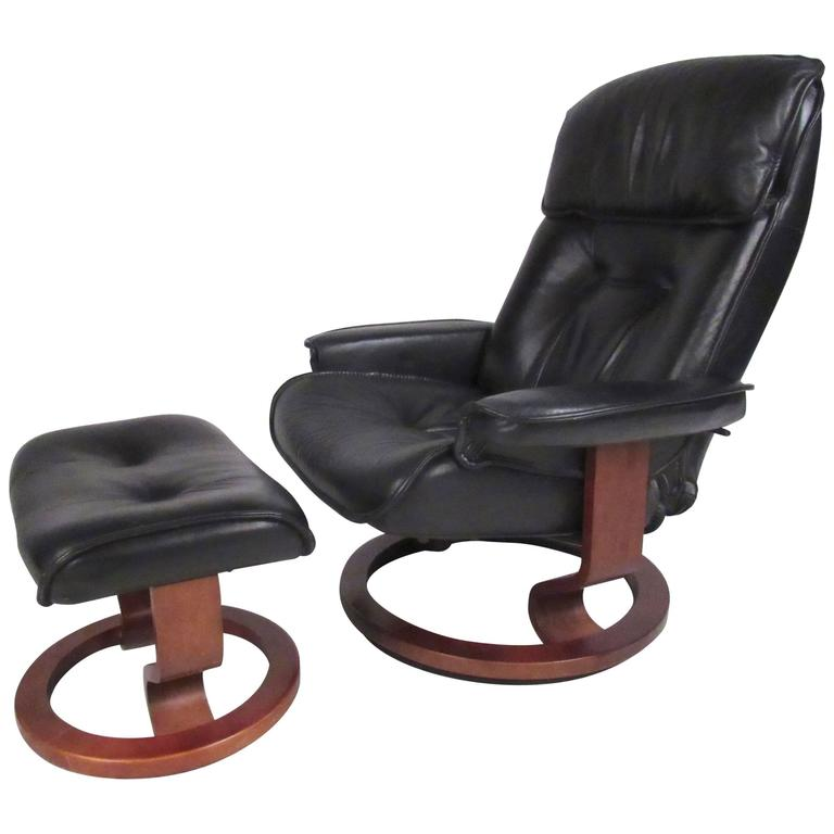 Danish Modern Leather Recliner For
