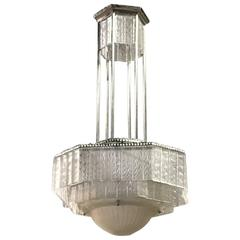 French Art Deco Geometric Chandelier by Georges Leleu