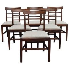 Set of Six Swedish Art Deco Mahogany Dining Chairs