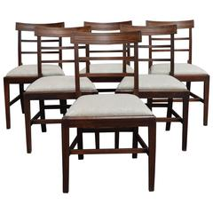Set of Six Swedish Art Deco Mahogany Dining Chairs