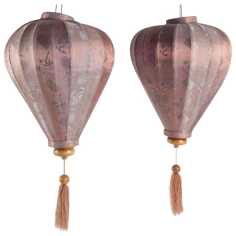 Pair of Antique Asian Lanterns in Silk and Wood